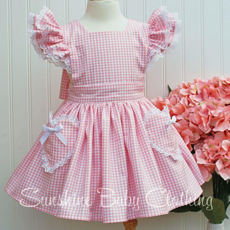 Stella Blush Pink Gingham Pinafore Dress vintage inspired handmade sunshine baby clothing girl toddler heart pocket lace ruffles