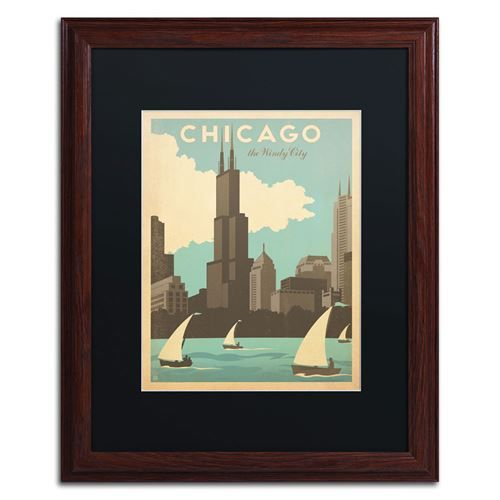 """Trademark Fine Art ALI0423-W1620BMF Anderson Design Group 16"""" x 20"""" 'Chic Windy City' Matted Framed Art"""