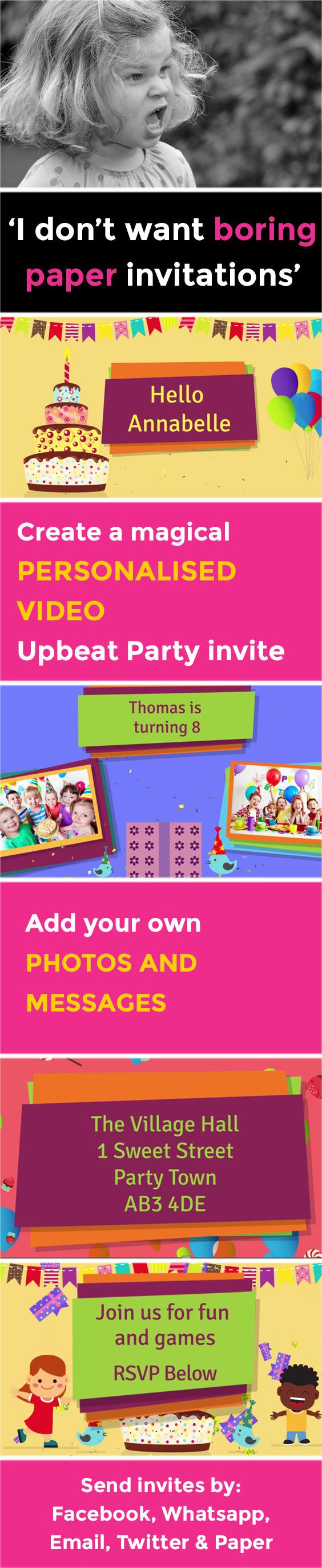 make your own birthday party invitations online for free%0A Create the perfect kids video party invitation that makes organising your  party a piece of cake  Children u    s evites have never been so magical
