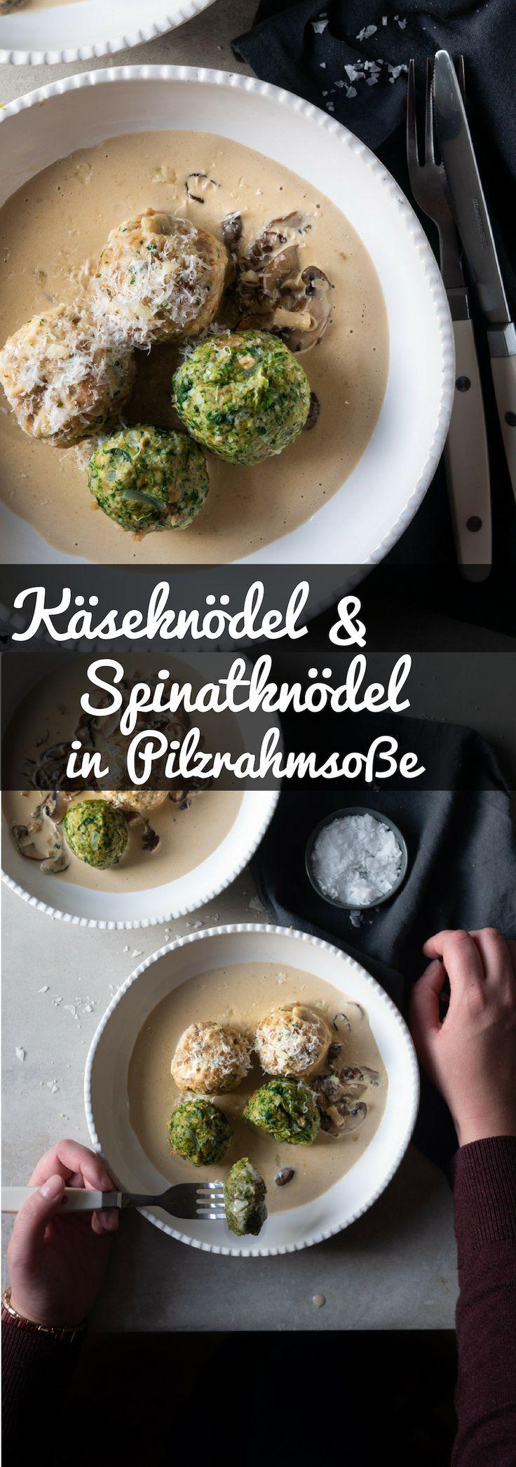 Spinach and cheese dumplings in mushroom cream sauce   – Herzhaft | Savory