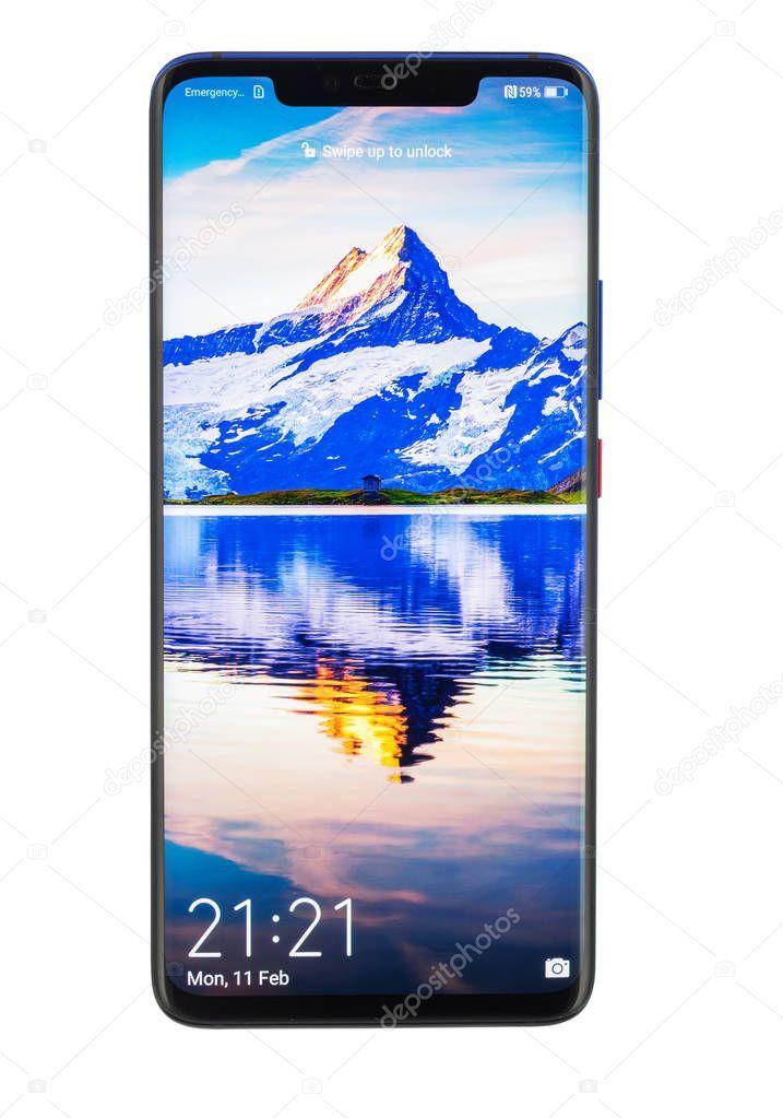 Huawei Mate 20 Pro Twilight Smartphone Isolated On White Background Sto Affiliate Pro Print Designs Inspiration White Background Huawei Mate