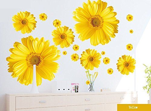 Set of 9 Yellow Chrysanthemums Daisy Flowers Wall Sticker Decal Home Decor for Living Bed Room Study TV Wall * Check out this great product.