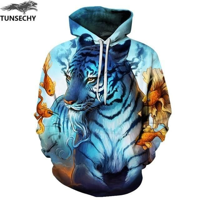 Men 3D Print Dragon Animal Sweatshirt Hoodies Man Hip Hop Streetwear Long Sleeve Hooded Pullovers