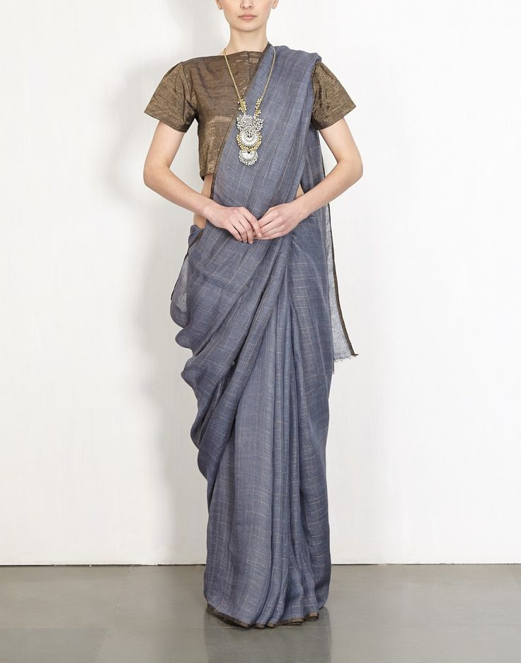 Lead Grid Linen Sari by Anavila