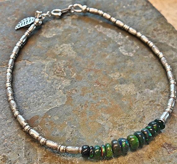 Hill tribe Ethiopian fire #opal #bracelet.Sterling #silver #jewelry #boho #bohemian #minimalist #jewelry by Emmalishop