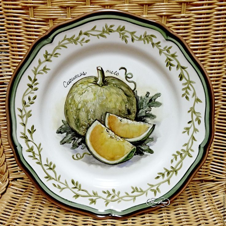 "Купить Тарелка фарфоровая ""Дыня"" - желтый, тарелка, Тарелка декоративная, тарелка сувенирная, тарелка настенная"