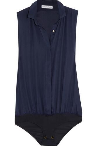 Stretch silk-blend crepe bodysuit #covetme #bodyeditions