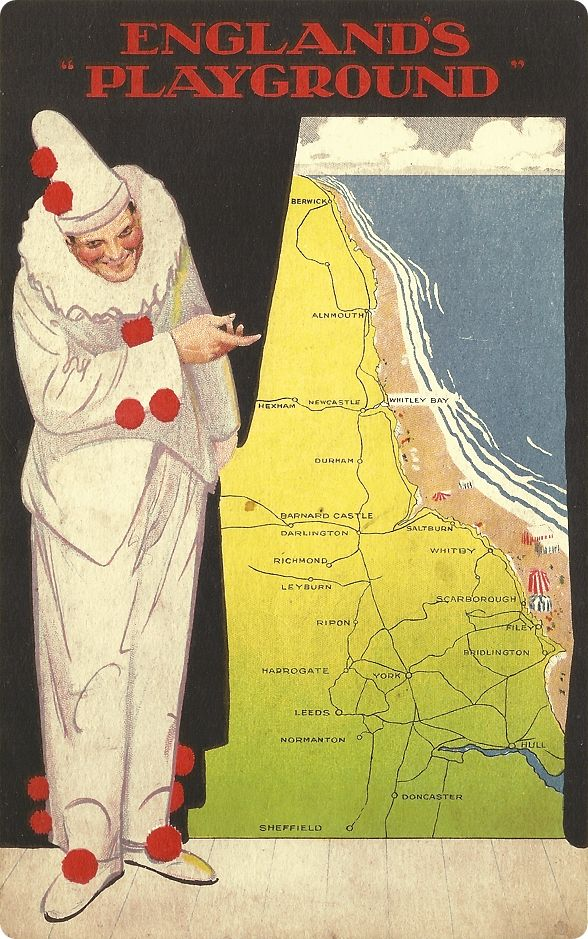 England's Playground, brochure issued by the North Eastern Railway, c1912 A charming - if sightly menacing - pierrot drawing attention to the north east coast of England as a holiday playground - the area served by the North Eastern Railway and stretching down from Northumberland to Yorkshire. The bracing resorts such as Whitley Bay, Scarborough and Filey were heavily promoted by the NER.