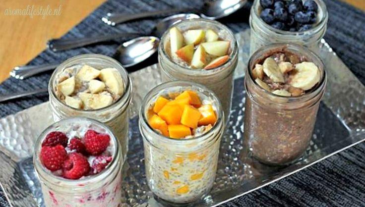 Wil je je dag goed beginnen? Probeer dit gezonde, supersnelle, havermout ontbijt. Je maakt het 's avonds klaar en haalt het 's ochtends zo uit de koelkast.