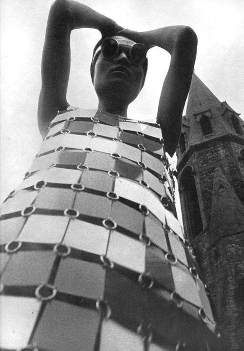 A Paco Rabanne dress. Photo by David Montgomery, 1966.    literally have been obsessed with this dress since i was 12