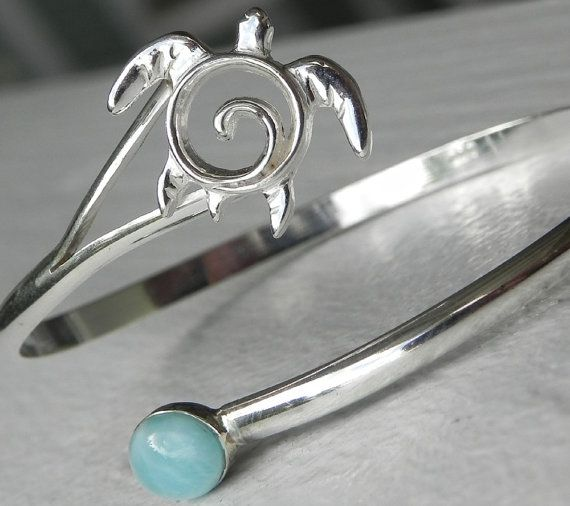 "OMG, i must have this ... MY stone ... turtle ... this will be on my ""done"" board SOON ...BRACELET  Larimar Sea Turtle Sterling Silver by FantaSeaJewelry, $75.00"