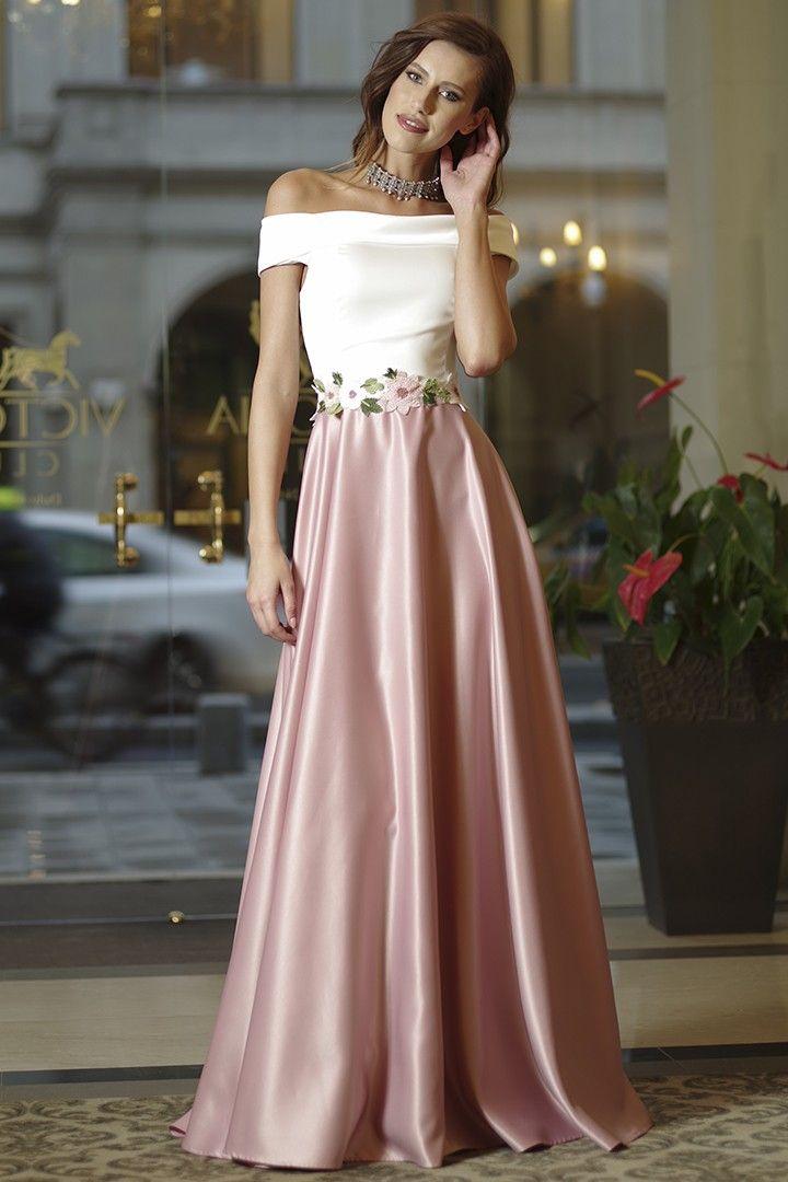 8029c8a50a4f Abito lungo bianco e rosa antico - scollatura a barchetta - cintura  floreale in vita