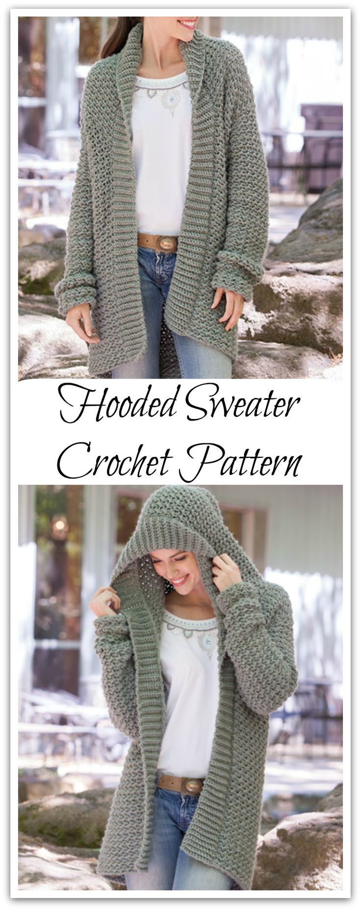 Snuggle in the textured fabric of this casual sweater with an oversized hood! Perfect for all your weekend activities. Instant PDF download or print to order. #ad #affiliate #crochet #pattern