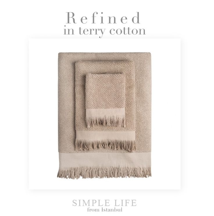 A refined detail for your barthroom: #taupe waffle towel set with fringes by Simple Life. http://near-and-far.com/en/home/285-simple-life-taupe-waffle-towel-set-with-fringes.html #furnishing #cotton #fringes #delicate #turkey