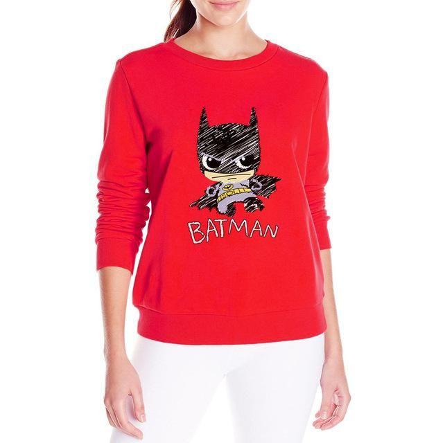 Cartoon batman women's hoodies fashion fall winter fleece style sweatshirts femme o-neck black red top pullovers