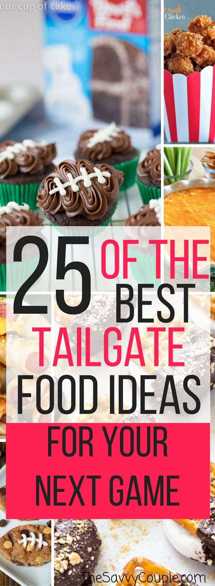 Here is the ultimate Pinterest list for easy tailgate foods. Football, fall, and food! These tailgate ideas that will please any crowd. This Pinterest roundup of tailgate ideas has been divided into five different categories; appetizers, chicken recipes, meaty recipes, slow cooker recipes, and dessert recipes. Try them today! Fall | Football | Tailgate Ideas | Tailgate Food | Roundup | Best of | The Savvy Couple