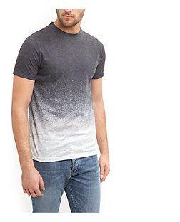 Dark Grey Gradient Ombre T-Shirt    New Look