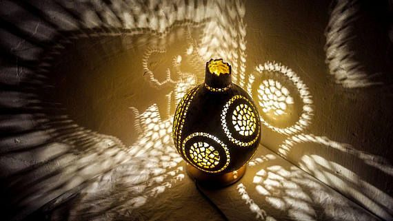 BABY-CHILD ROOM Gourd lamp art handcrafted stehlampe table