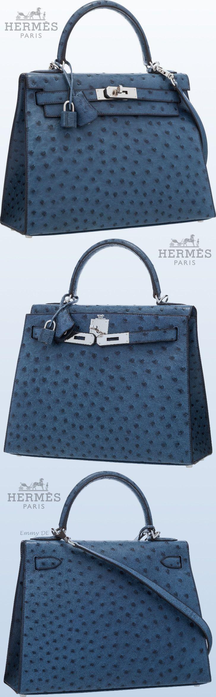 Emmy DE * Hermès Blue Roi Ostrich Sellier Kelly Bag  |  @  hermes bags