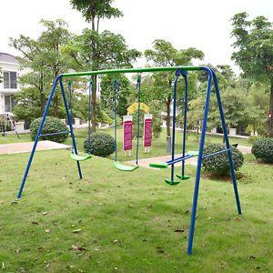 Superieur Playground Metal Swing Set Swingset Play Outdoor Children Kids Backyard  Playset