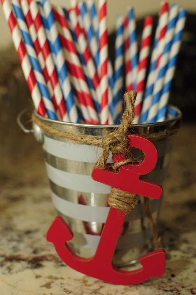 Nautical Baby Shower | CatchMyParty.com Paper Straws Drink Ideas