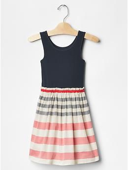 Mix-fabric tank dress | Gap
