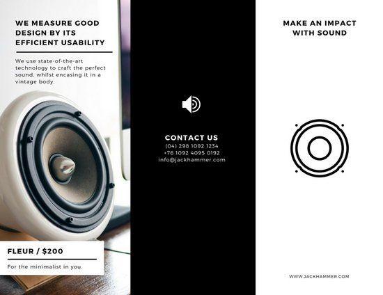 Black And White Speaker Sales Trifold Brochure Pamphlet