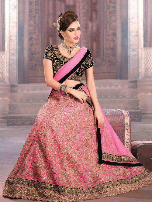 Light Pink Net Lehenga Choli with Zari Work