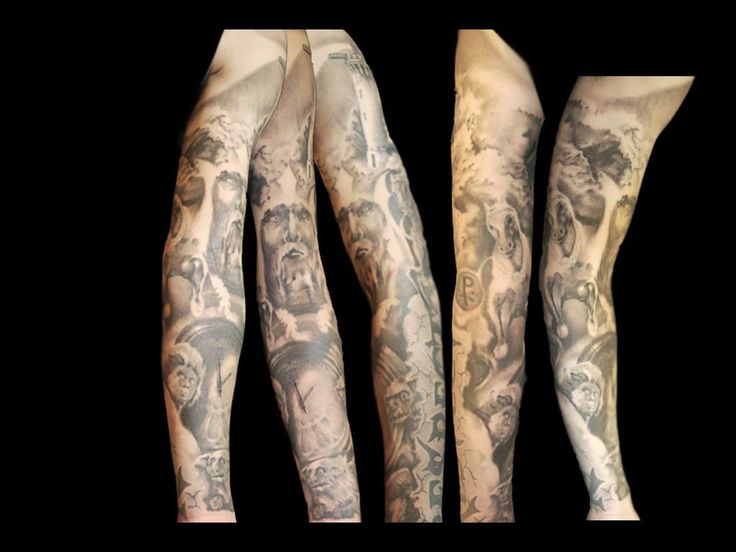 sleeve tattoo black and white
