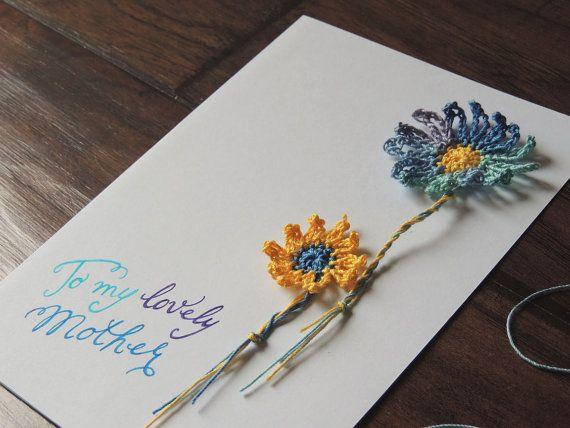 Lovely Mother card Mom birthday card crochet by WhispersInDesign