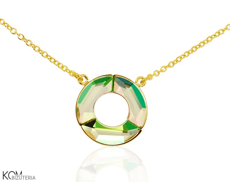 CELEBRITY - luminous green circle - delicate gold-plated silver necklace with Swarovski® crystals. Delicate necklace worn by celebrities.  Made from the highest quality of gold-plated silver and embellished with bright and shiny green-yellow Swarovski® crystals.  This subtle, fashionable necklace is best worn near the neck and fits every clothing stylisation.