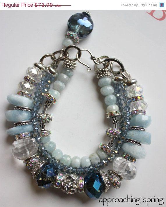 Etsy Transaction - chunky charm bracelet, aquamarine bracelet, multi strand bracelet, blue bracelet, statement bracelet, pandora.....Approaching Spring