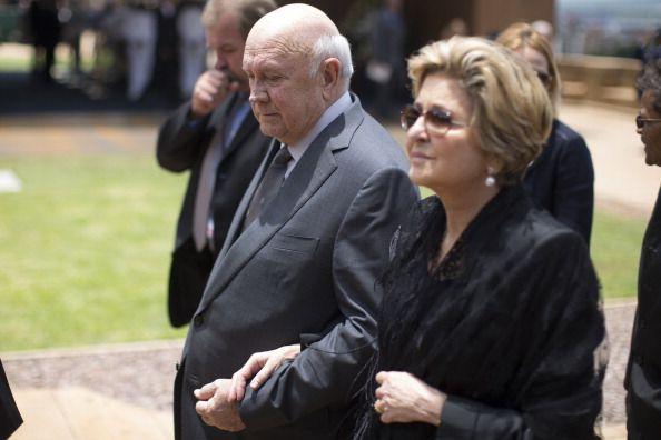 South African former apartheidera President Frederik Willem de Klerk arrives to bid farewell to South African former president Nelson Mandela lying...