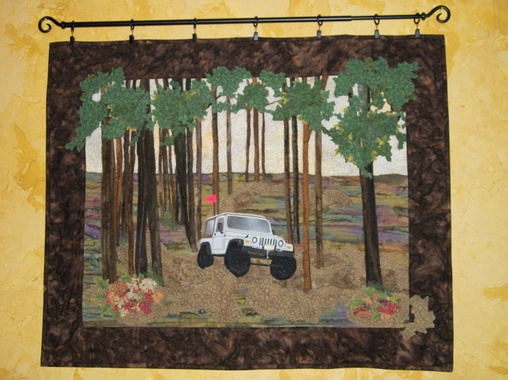 Jeep Quilt Quilts Landscape Quilt Flag Holder
