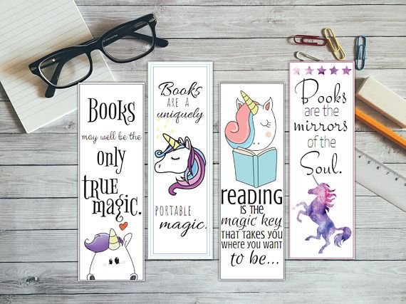 Printable bookmark printable unicorn