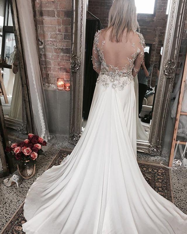 Couture wedding gown open back, wedding dress with lace overlay. #weddingdress #dressgoals #weddinggoals #sydneybride Moira Hughes Couture