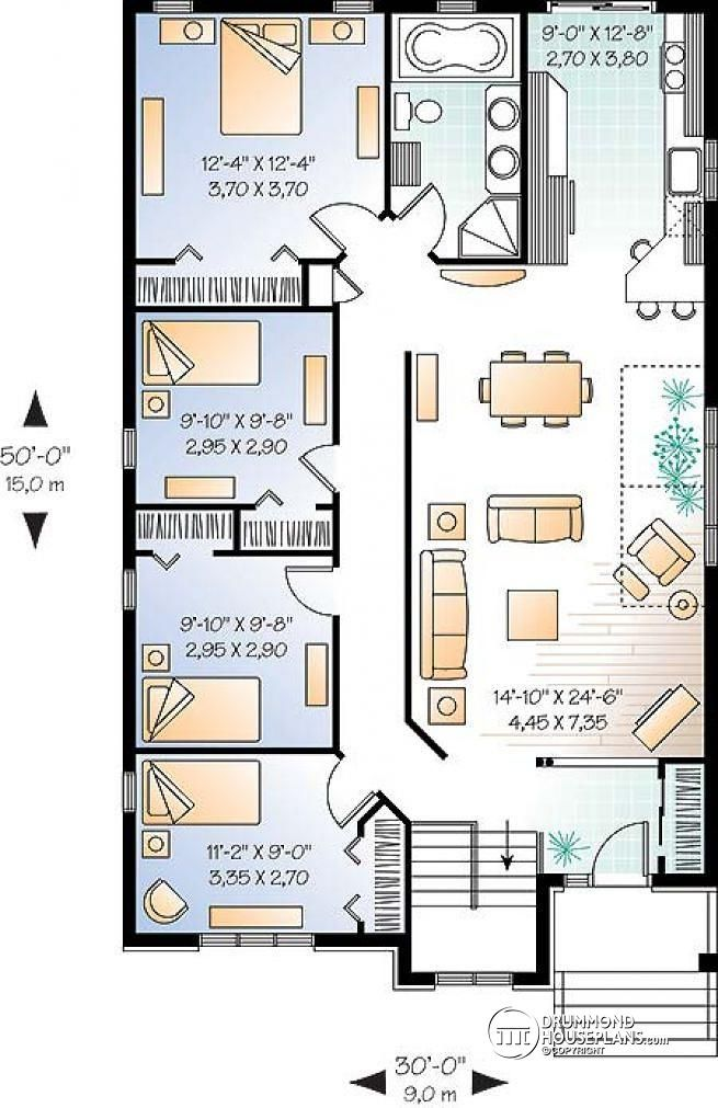 Best 25 open plan house ideas on pinterest small floor for Three bedroom house layout