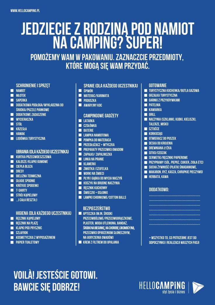 lista rzeczy do spakowania na camping. Więcej na www.hellocamping.pl