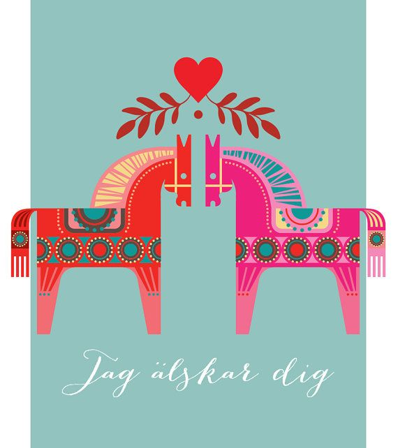 Dala horses print Swedish Dala horses I love by visualphilosophy