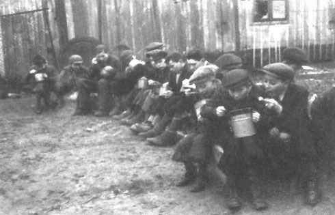 Meagre meals distributed at Jewish schools in the Lodz Ghetto. Sadly, these children will be shipped to death camps and killed in gas chamber