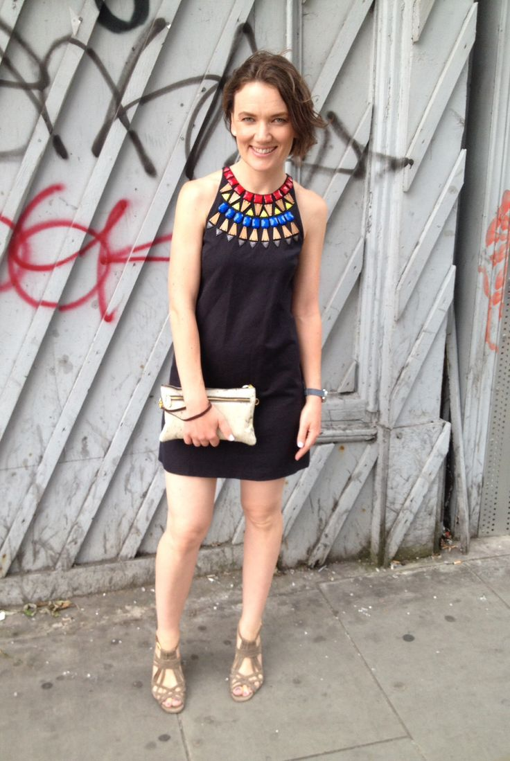 LBD with a twist, neutral accessories, gemstones, wood, Gorman, chie mihara, London street style Facebook.com/circleofstylebyrebeccagiles