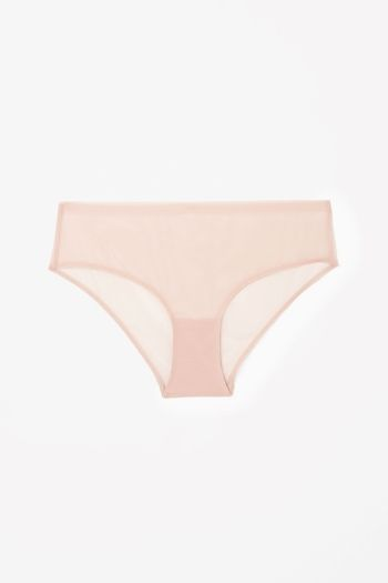 COS Raw-cut mesh knickers in Dusty Pink