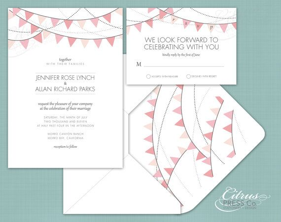 SUPER CUTE!!!---from citrus press co.! Banners / Bunting Wedding Invitation/ DIY PDF by CitrusPressCo, $3.95