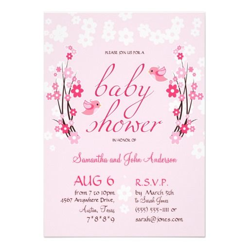 Flowers &Birds Baby Shower Modern Floral Pink Invitation - Customizable