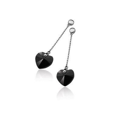 Zinzi ZIO858Z zwarte zirkonia hart oorbellen