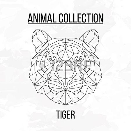 animales de fondo geométrico de la cabeza del tigre