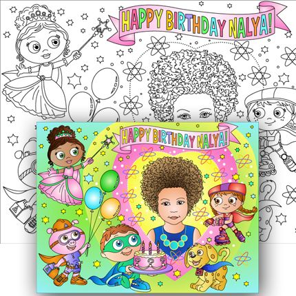 SUPER WHY party coloring page