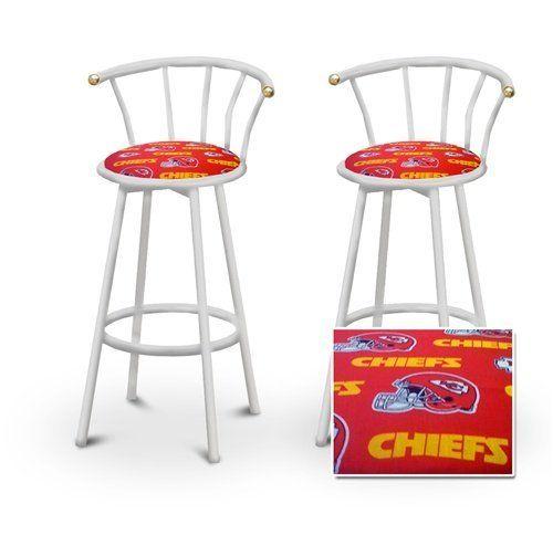 2 Kansas City Chiefs NFL Football Themed Specialty Custom White Barstools w