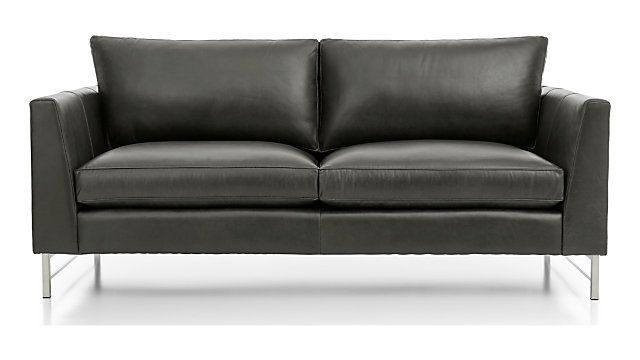 Tyson Leather Apartment Sofa With Stainless Steel Base Leather