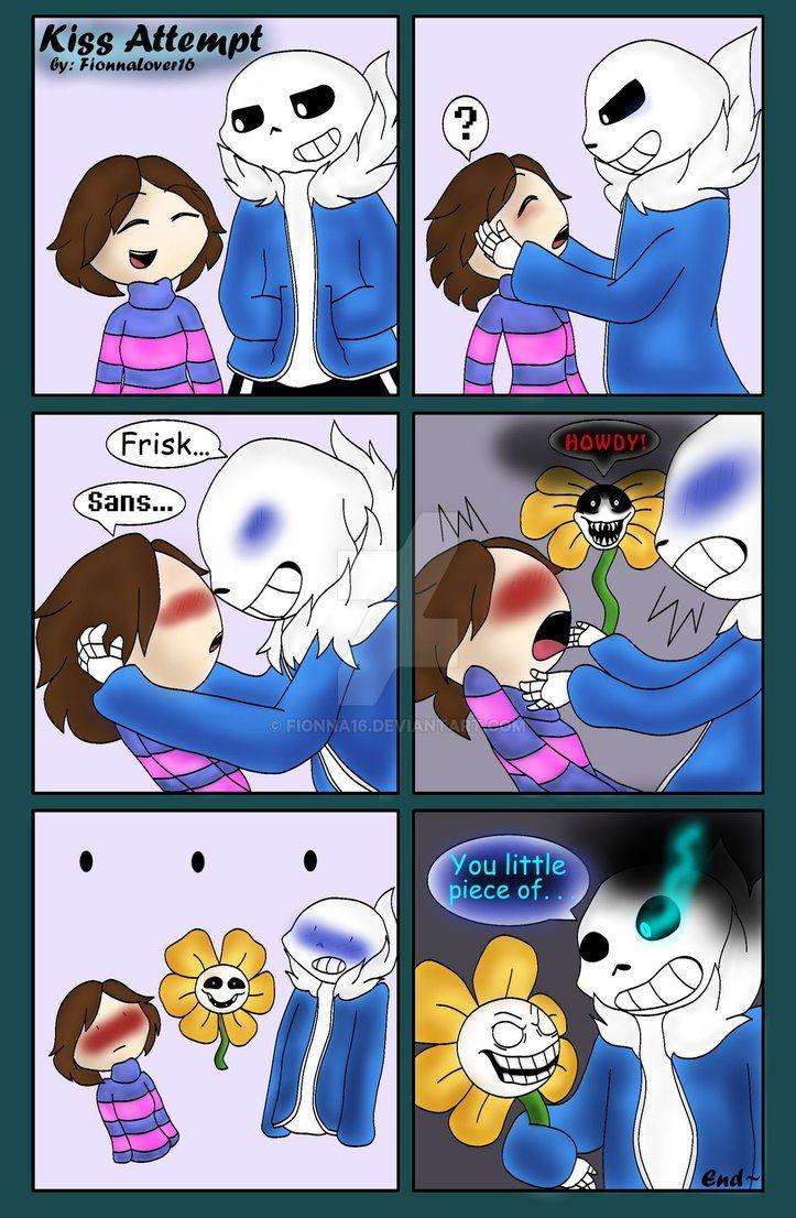 Kiss Attempt Comic Sans X Frisk By Fionna16 Sans X Frisk Sans E Frisk Undertale